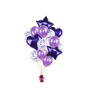 luxe set met folie ballonnen d.paars + confetti