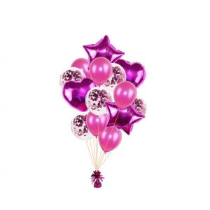 luxe set met folie ballonnen d.roze + confetti