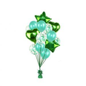 luxe set met folie ballonnen groen + confetti