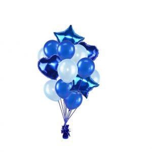 luxe set met folie ballonnen l.blauw d.blauw op