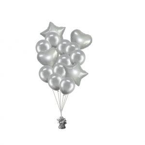 luxe set met folie ballonnen zilver
